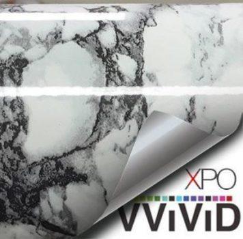 White with black vein marble vinyl wrap