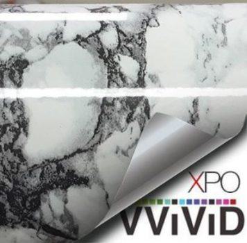 White with black vein marble vinyl wrap